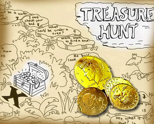 Treasure hunt map and coins